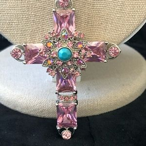 Jewelry - Large Pink Rhinestone Cross Necklace